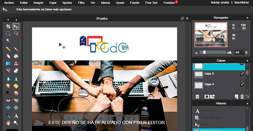 Programa de diseño gráfico Pixlr Editor