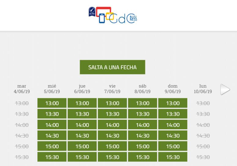 Calendario sistema de reservas online gratuito