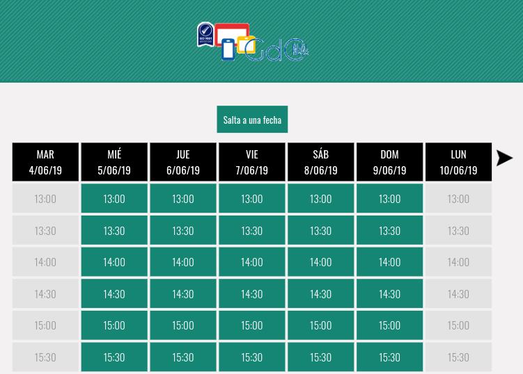Calendario con sistema de reservas online gratuito
